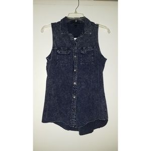 Rock & Republic Acid Wash Button Up Tank